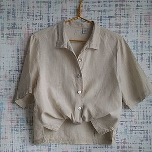 LINO by Chico's S/S Linen Button Down Top